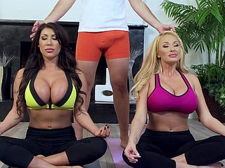 Yoga lesson ends short be useful to several hot arse milfs in heats