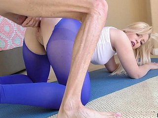 Sporty explicit in nicked yoga pants Krystal Kash is poked doggy style unstintingly