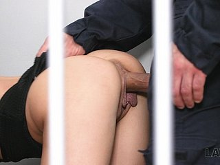 The jail cage is filled with loud moans as Nicole Love is fucked doggy hard