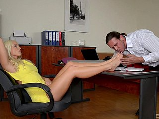 Office blonde gets her dose of cock from the new guy