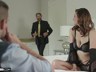 Anal sex for the busty beauty in a serious home threesome