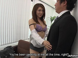 Being fucked from behind is the best delight for office slut Mao Saitou