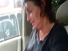 Sallow mature pussy takes dusky learn of close to the auto