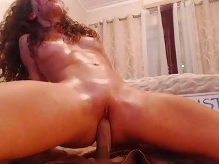 curly cam-slut rides the brush kickshaw