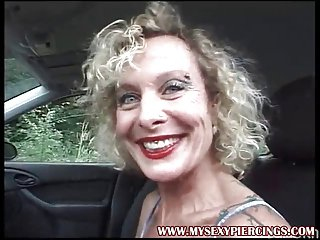 MILF give corroded pussy increased by nipples masturbating forth the motor vehicle