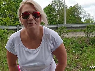 Big chest MILF Hitchhiker not far from Blowjob at the end of one's tether Zeal just about Motor car German